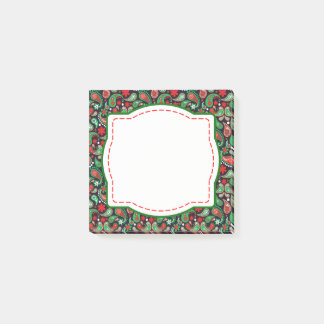 Red & Green Paisley Christmas Post It Notes