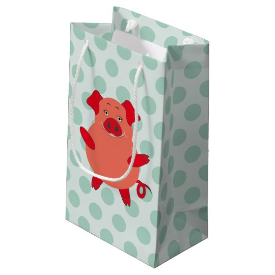 Red & Green Piggy Polkadots Small Gift Bag