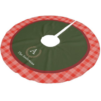 Red Green Plaid Monogram Family Name Brushed Polyester Tree Skirt