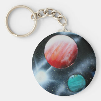 Red Green Planets and White star spraypainting Keychain