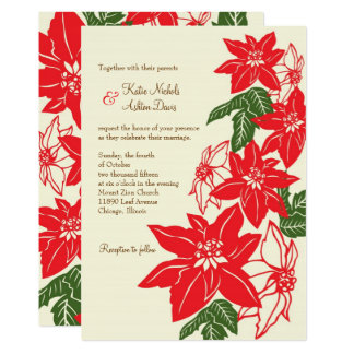 Red & Green Poinsettias Christmas Wedding Card