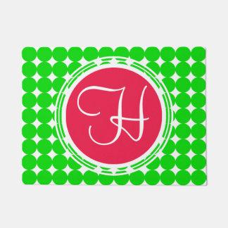 Red & Green Polka Dot Monogram Doormat