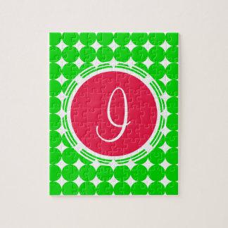 Red & Green Polka Dot Monogram Jigsaw Puzzle