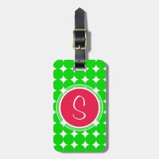 Red & Green Polka Dot Monogram Luggage Tag