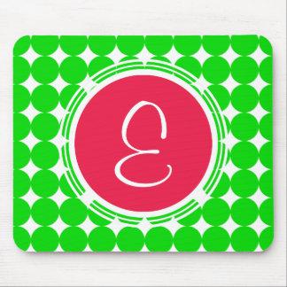 Red & Green Polka Dot Monogram Mouse Pad