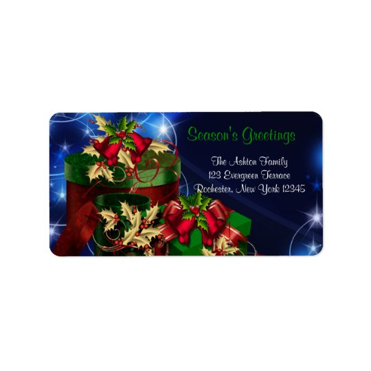 Red & Green Presents Blue Christmas Address Labels