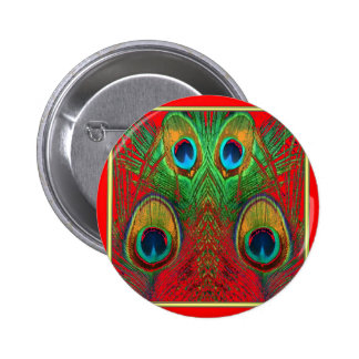Red-Green-Purple-Gold Peacock Feathers gifts 2 Inch Round Button