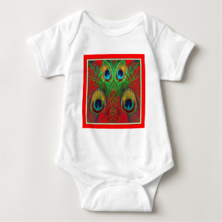 Red-Green-Purple-Gold Peacock Feathers gifts Baby Bodysuit
