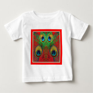 Red-Green-Purple-Gold Peacock Feathers gifts Baby T-Shirt