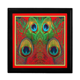 Red-Green-Purple-Gold Peacock Feathers gifts Gift Box