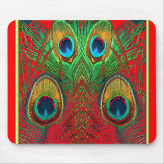 Red-Green-Purple-Gold Peacock Feathers gifts Mouse Pad