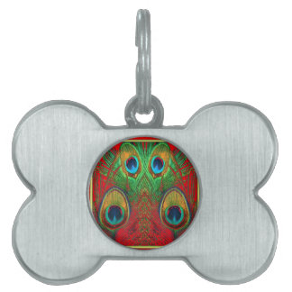 Red-Green-Purple-Gold Peacock Feathers gifts Pet ID Tag