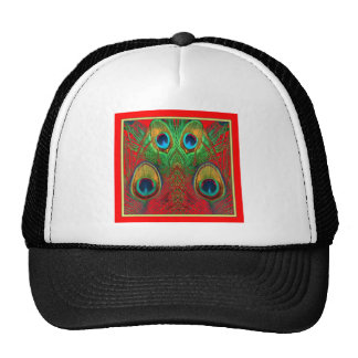 Red-Green-Purple-Gold Peacock Feathers gifts Trucker Hat