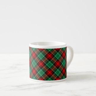 Red Green Retro Holiday Plaid Pattern Espresso Mug