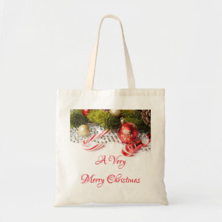 Red Green Silver And Christmas Decorations Tote Bag