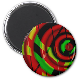 Red Green Spiral Abstract Fridge Magnet