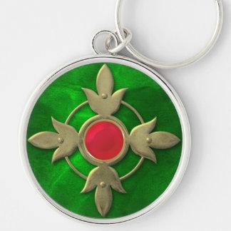 Red Green Steampunk Gem Keychain