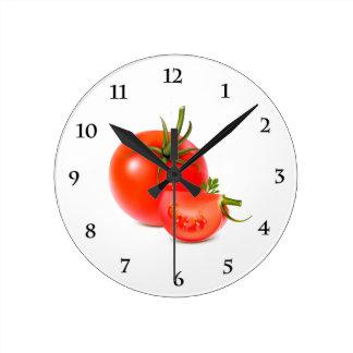 Red Green Tomato Food Art Round Clock