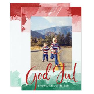 Red&green Vattenfärg - good Christma - Familjefoto Card