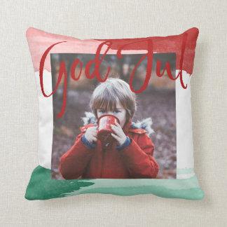 Red&green Vattenfärg - good Christma - Familjefoto Throw Pillow