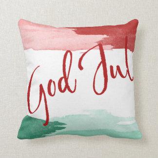 Red&green Vattenfärg - good Christma Throw Pillow