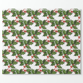 Red Green Vintage Holly White Wrapping Paper