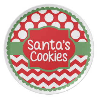 Red Green w/ White Polka Dots Santa's Cookie Plate