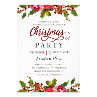 Red Green Watercolor Holly Leaf Christmas Party Card