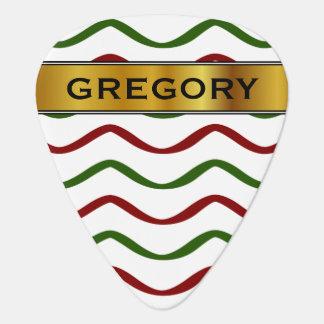 Red & Green Wavy Lines Pattern & Custom Name Guitar Pick