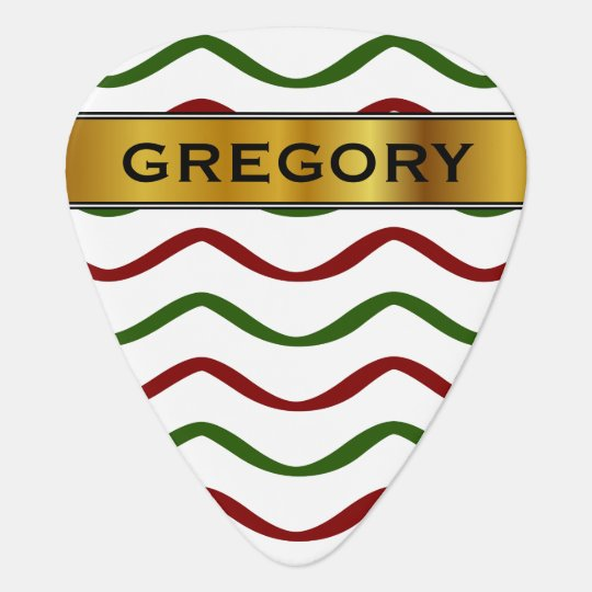 Red & Green Wavy Lines Pattern & Custom Name Guitar Pick