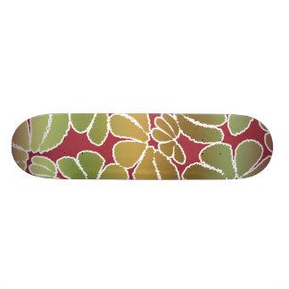 Red Green Whimsical Ikat Floral Doodle Pattern Skate Board