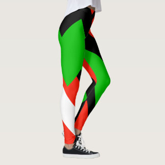 Red Green White Black Color Block 4Josephine Leggings