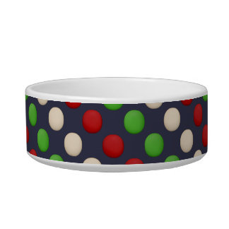 Red Green White Dots Pet Water Bowls