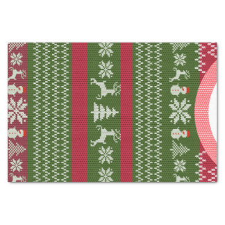 Red Green Winter Christmas Holiday Sweater Custom Tissue Paper