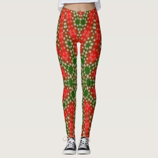 Red Green with Snowflakes Christmas Leggings