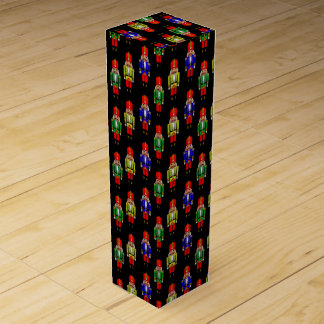 Red Green Yellow Nutcracker Tiled Pattern Wine Box