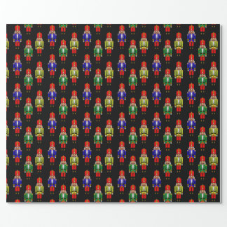 Red Green Yellow Nutcracker Tiled Pattern Wrapping Paper