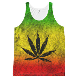 Red Green Yellow Reggae Rasta Leaf Jamaican Grunge All-Over-Print Tank Top