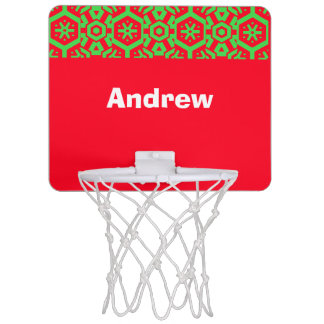 Red Green Your Text (Andrew) Xmas colors Mini Basketball Hoop