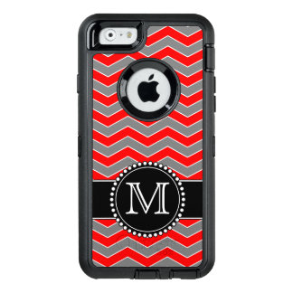 Red, grey and Black Chevron, Monogrammed Defender OtterBox Defender iPhone Case