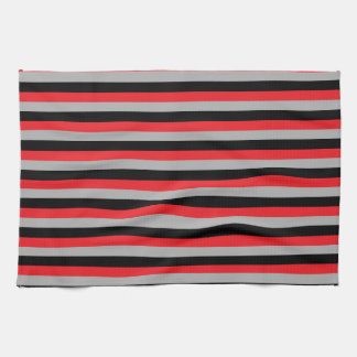 Red, Grey and Black Stripes Kitchen Towel