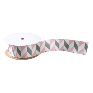 Red Grey and White Chevron Pattern Satin Ribbon