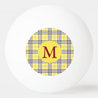 Red, Grey and Yellow Tartan Plaid Monogram Ping Pong Ball