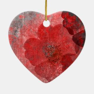Red grey Black Grunge Digital Graphic Art Design Ceramic Heart Ornament