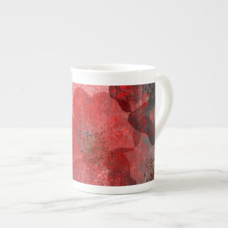 Red Grey Black Grunge Digital Graphic Art Design Tea Cup