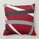 RED GREY BLACK STRIPES DESIGN Retro Throw Pillow