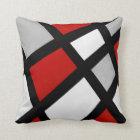 Red Grey Black White Geometric Throw Pillow