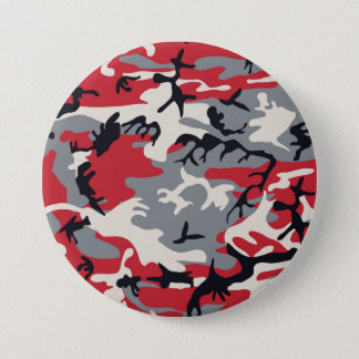 Red Grey Camo Camouflage Pattern 3 Inch Round Button