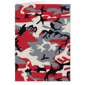 Red Grey Camo Camouflage Pattern Card