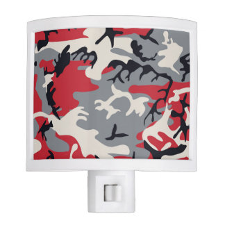 Red Grey Camo Camouflage Pattern Night Lights
